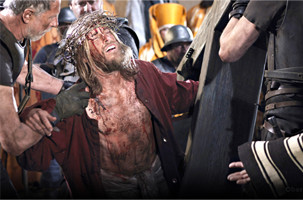 Jesus kneeling with crown of thorns at Oberammergau Passion Play